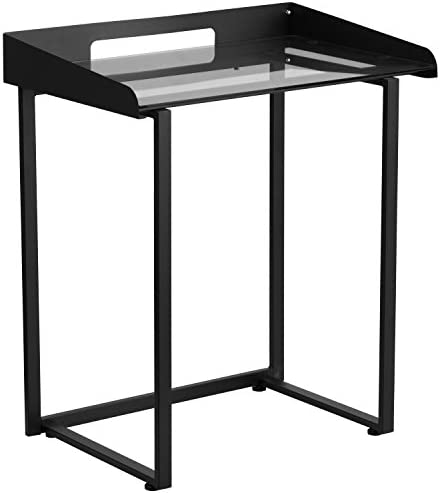 Flash Furniture Contemporary Clear Tempered Glass Desk