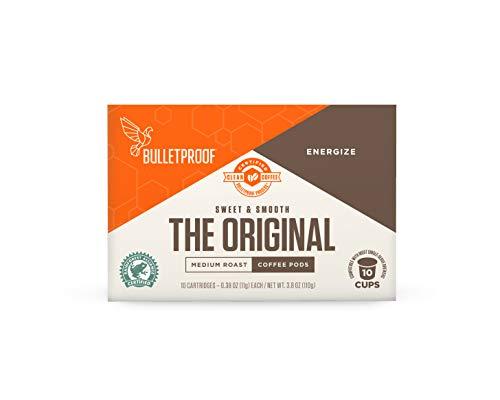 Bulletproof The Original Roast Coffee Pods, Premium Medium Roast Organic Beans, Single-Serve K Cups, Works With Keurig 2.0 (10 Count)