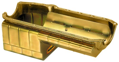 Milodon 31167 Steel, Gold Zinc Plated Strip and Serious Street Oil Pan for Small Block Chevy ()