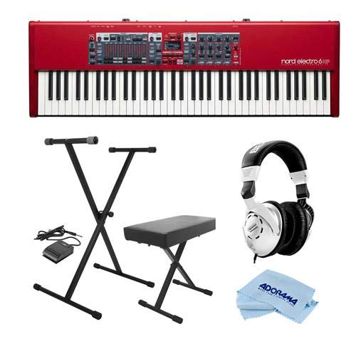 NORD Electro 6 HP 73-Note Hammer Action Portable Keybed - Bundle With On-Stage KPK6520 Keyboard Stand/Bench Pack with Sustain Pedal, Behringer HPS3000 High-Performance Studio Headphones, MF Cloth by Nord
