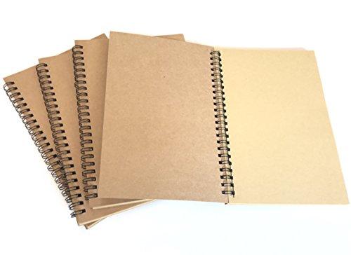 VEEPPO A5 4pcs Spiral Natural Kraft Cover Blank Paper Notebook Wirebound Sketch Book (Natural kraft color paper) -