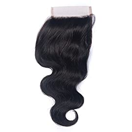 Brazilian 100% Unprocessed Virgin Human Hair Body Wave Top Lace Closure 4×4 Free Part Natural Color Can Be Dyed and Bleached (12inch)