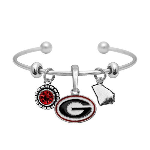 Sports Accessory Store Georgia Bulldogs Home Sweet Home Silver Crystal Cuff Bracelet Jewelry UGA