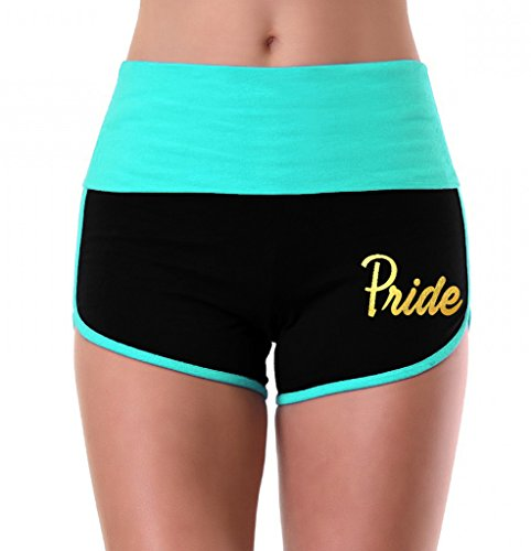 Women's Gold Foil LGBT Gay Pride Mint/Black Athletic Workout Yoga Shorts Small ()