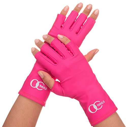 OC Nails UV Shield Glove (HOT PINK) Anti UV Glove for Gel Manicures with UV/LED ()