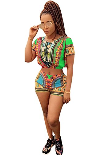 Sexy Outfit For Ladies (Mojessy Women's Dashiki African Print 2 Piece Outfits Short Sleeve Crop Top+Shorts Set Rompers(Small, Green))