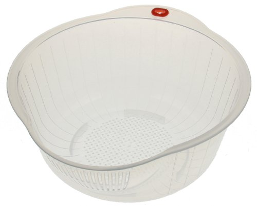 Kotobuki Japanese Rice Washer with Dual Drain, Clear