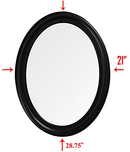 Frame Large Bathroom Mirror (Oval Wall Mirror Large Frame - Mirrored for Hanging Vertically or Horizontally, 28.75'' x 21'' Overall Size Wall Mirror for Bedroom, Bathroom - Black)