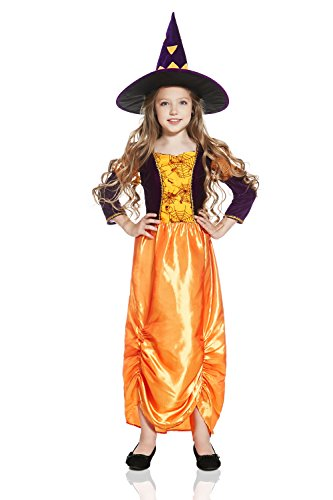 Wendy The Witch Costume (Kids Girls Pumpkin Witch Halloween Costume Pretty Sorceress Dress Up & Role Play (6-8 years, orange, purple))