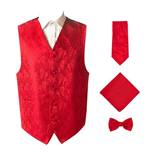Oliver George 4pc Paisley Vest Set-Red-3XL ()