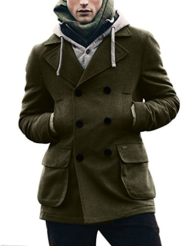 Coofandy Men's Winter Classic Wool Double Breasted Pea Coat,Green,Small