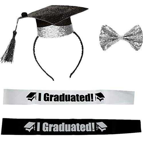 2019 Graduation Party Supplies Kits, Mini Doctoral Cap Hairband Congrats Grad Headband Hair Clasp Bow Tie and Graduated Sash for Grad Party Gift Idea Graduation Party Decorations Grad Decor Favors