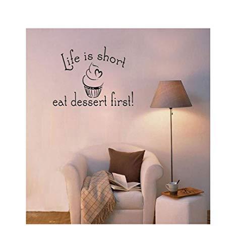 Dailinming PVC Wall Stickers Life is Short Eat dessert kitchen living room windows and home decorWallpaper38.1cm x20.3cm-Deep -