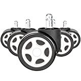 Devoko Premium Office Chair Wheels Suiting All Types of Flooring Perfect Mute Gaming Chair Caster Wheels Heavy Duty Roller Easy to Install (Set of 5) (White)