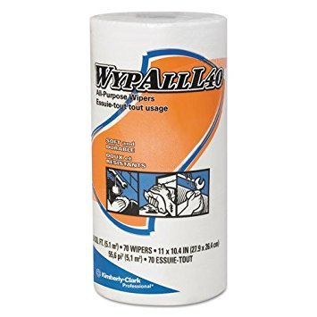WypAll 05027 L40 Wipers, Small Roll, 10 2/5 x 11, White, 70/Roll, 24 Rolls/Carton