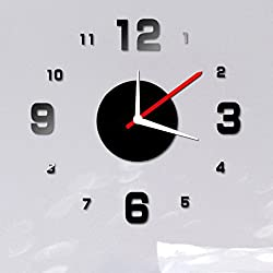 Unique Clock Wall Decal, Leyorie Modern DIY Wall Clock, 3D Mirror Surface Clock Sticker, Home Office Decor Black Mural (Black)
