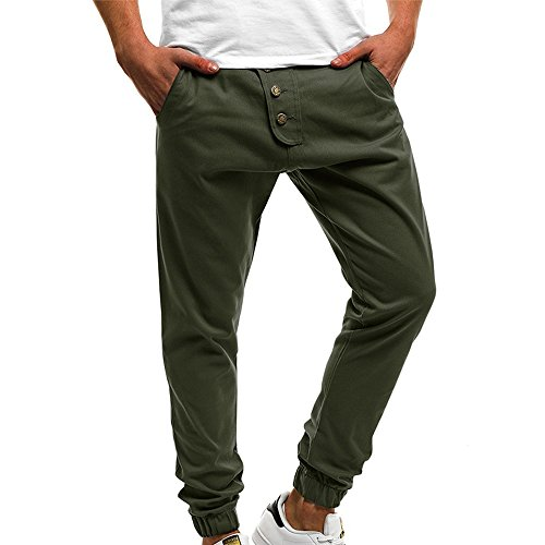 iYBUIA Fashion Men's Button Sport Pure Color Button Casual Loose Sweatpants Drawstring Ankle-Length Pant Army Green