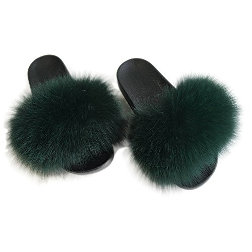 Slide Green Leather - Yu He Women Real Fox Fur Feather Vegan Leather Open Toe Single Strap Slip On Sandals Green 40