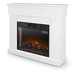 "DELLA 28"" Insert Freestanding Push Button Control Electric Fireplace Heater Stove, Wood, White and Grey from Della"