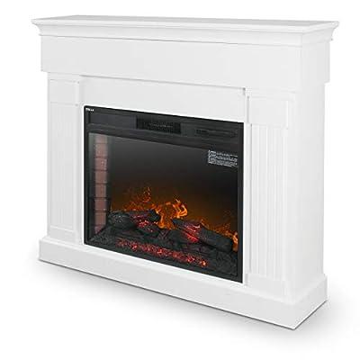 "DELLA 28"" Electric Fireplace Mantel Package Freestanding Heater Corner Firebox w/Log Hearth, Remote Control, 1400W White"