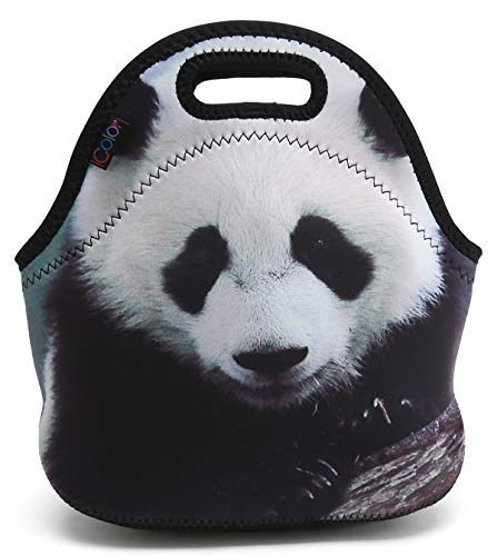 ICOLOR Panda Neoprene Lunch Tote Bag, Soft Thermal Lunch Food Fruit Container, Insulated Lunch Carrying Handbag, Boys,Girls School Office Travel Outdoor Picnic Food Storage Cooler(HST-LB-019)