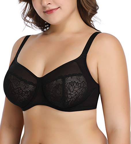 Deyllo Women's Plus Size Lace Underwire Bra Full Coverage Minimizer Bra Unlined(Elegant Black,38C)