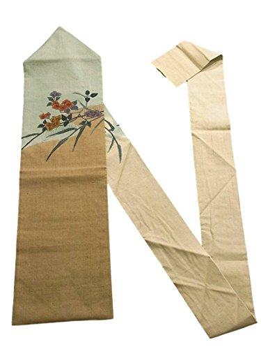 トリッキー囲い口実リサイクル 名古屋帯 正絹 紬 刺繍 椿の花
