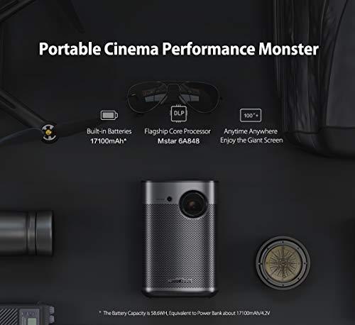Projector Portable Cinema, XGIMI MoGo Pro Native 1080p HD Android TV 3D  Home Cinema Projector Built-in 58 6Wh Batteries Harman/Kardon Original Sound