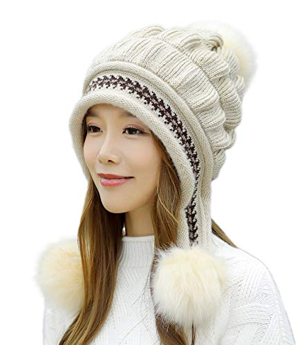 (E.Joy Online Women Peruvian Earflap Beanie Hat Knitted Pom Winter Snow Ski Hat Ladies Beige)