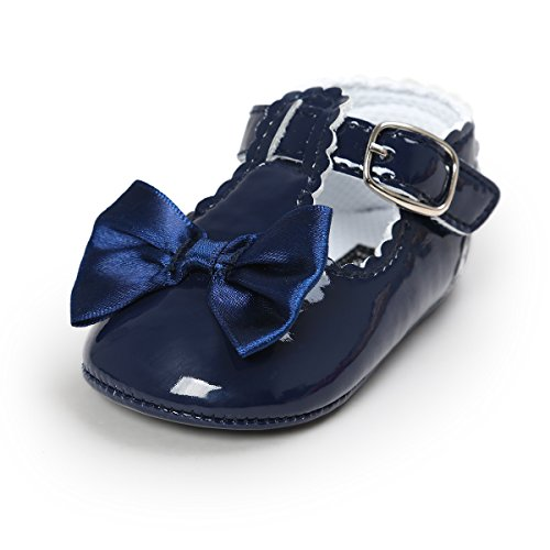BENHERO Baby Girls Mary Jane Flats with Bowknot Non-Slip Toddler First Walkers Princess Dress Shoes (12-18 Months M US Infant, - White Girl And Blue Baby Dress