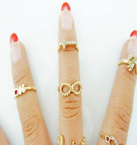 Coromose 7Pcs/Set Fashional Cute Eye Bowknot Crown Rhinestone Joint Rings