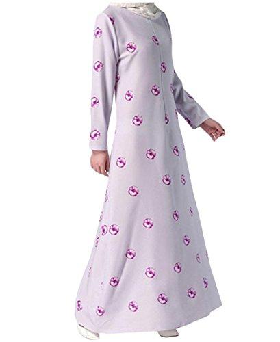 Muslim Wild Fit Dress Sleeves Coolred Floral Purple Long Light Slim Islamic Women Ywq84O