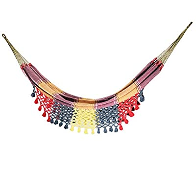 Extra Large Maya Hammocks Handmade by Authentic Venezuelan artisans Double Hammock Soft Touch 100% Cotton (Yellow) - Our hammocks are woven on handmade looms with cotton threads, Soft to the touch that mold perfectly to your body, Our craftsmen take care of every detail and leave the soul making each piece unique. Hammocks made in Venezuela by authentic artisans, This hammock has long: 13.5 Ft approx, with a Width: 7 Ft Approx and a Weight capacity: 400 Lb. In this Hammock, two people can lie down comfortably. They can also be machine washed and placed in a dryer. - patio-furniture, patio, hammocks - 410Fu%2BCxnNL. SS400  -