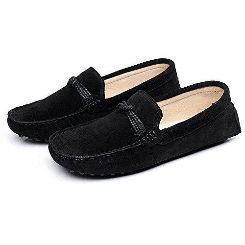 Shenn Mens Comfortable Driving Car Slip On Moccasin Suede Leather Loafer Flats Black npiSFkPM