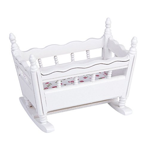 Dollhouse Cradle - TOOGOO(R)1/12 Dollhouse Miniature White Wood Kindergarten Cradle Cot