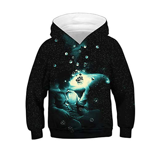 (❤️ Mealeaf ❤️ Kids Boys Girls Hoodies Sweatshirt 3D Galaxy Fleece Print Cartoon Hooded Coat Tops Clothes 4-13)