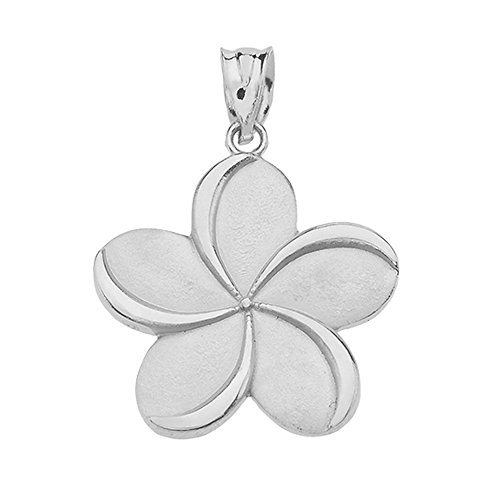 (Fine 10k White Gold Hawaiian Plumeria Flower Necklace Pendant)