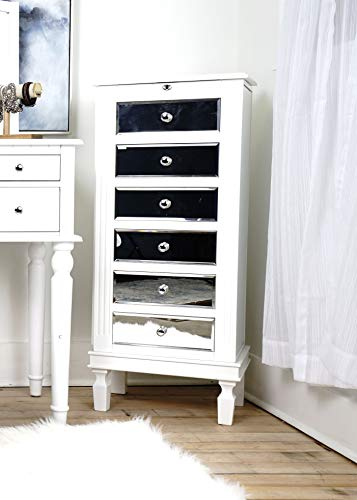 Alveare Home 8008-632 Avalyn Standing Mirrored Jewelry Armoire, White
