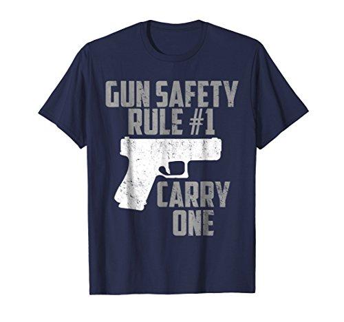 Mens Gun Safety Rule #1 Carry One Firearm Pistol T-Shirt XL ()