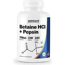 Nutricost Betaine HCl + Pepsin 750mg, 240 Capsules - Gluten Free & Non-GMO