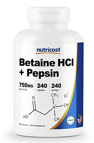 Nutricost Betaine HCl + Pepsin 750mg, 240 Capsules - Gluten Free & - 240 Hcl Capsules
