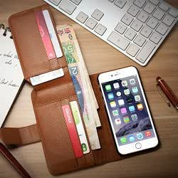 Case For Iphone 6 Plus 5.5Inch, Particular Design Leather Wallet Cover For Iphone 6 Plus With Several Card Holder Pouchs-1-Brown