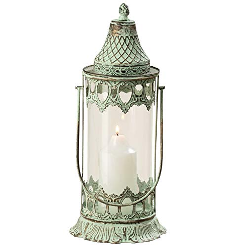 WHW Whole House Worlds Grand Tour Temple Lantern Hurricane, Distressed Bronze Metal, Green Vintage Patina, for LED or Wax Candles, 16 1/2 Inches (42 cm) Tall, from The Global Chic Collection (Green Lantern Glass)