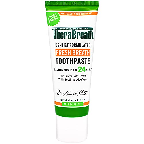 TheraBreath Fresh Breath Dentist Formulated 24-Hour Toothpaste, Mild Mint, 4 Ounce (Pack of 2)