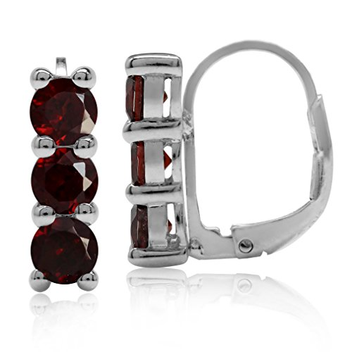 (1.98ct. 3-Stone 4MM Natural Garnet White Gold Plated 925 Sterling Silver Leverback Earrings)