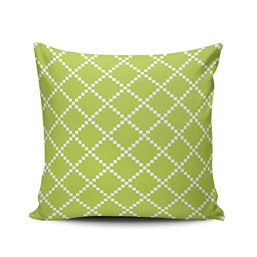 XIUBA Throw Pillow Covers Case Lime Green Outdoorscandinavian Pattern Decorative Pillowcase Cushion Cover 20 x 20 Inch Square Size One Side Design Printed