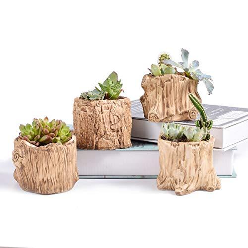 Ceramic Wooden Pattern Succulent Plant Pot Cactus Plant Pot Flower Pot Container Planter Bonsai Pots with A Hole Perfect Gift