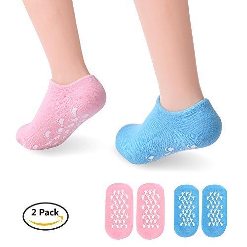 PRETTY SEE Moisture Socks Gel Moisturizing Socks for Moisturize Dry Hard Cracked Skin and Soften Repair Feet, 2 Packs, Blue & Pink -