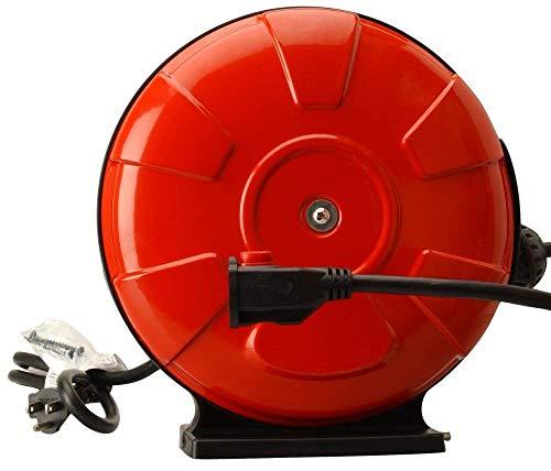 Woods 48004 14/3 SJTW Metal Extension Cord Reel with Locking Plug, Red, 30-Feet