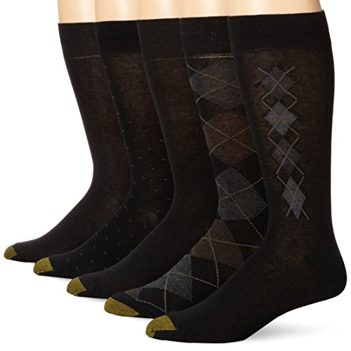 Gold Toe Men's Argyle Assorted Crew 5 Pack, Black/Charcoal, Sock Size: 10-13/Shoe Size:9-11 (Gold Cotton Toe Socks)